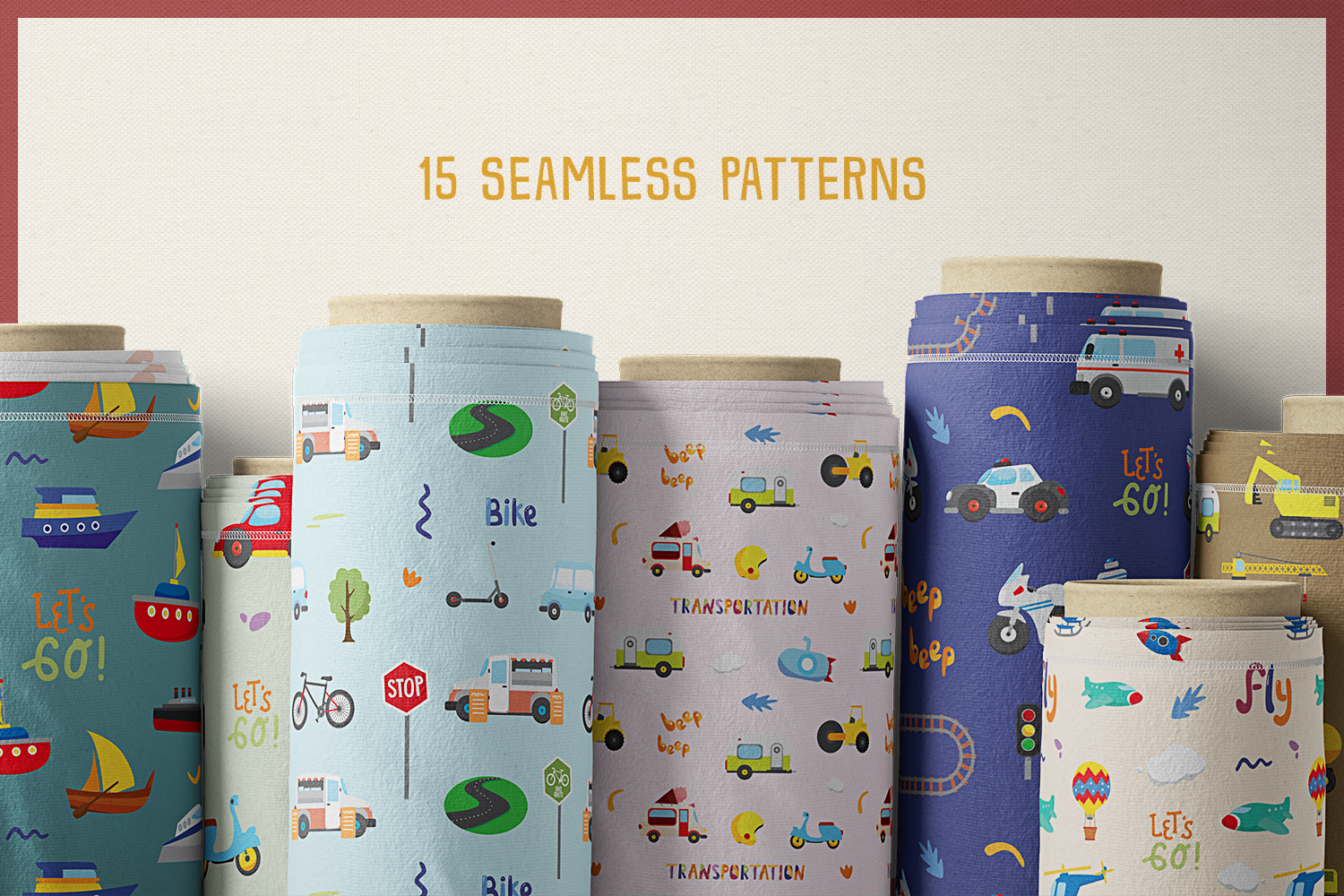 75 Transportation Vector Clipart & Seamless Patterns example image 7