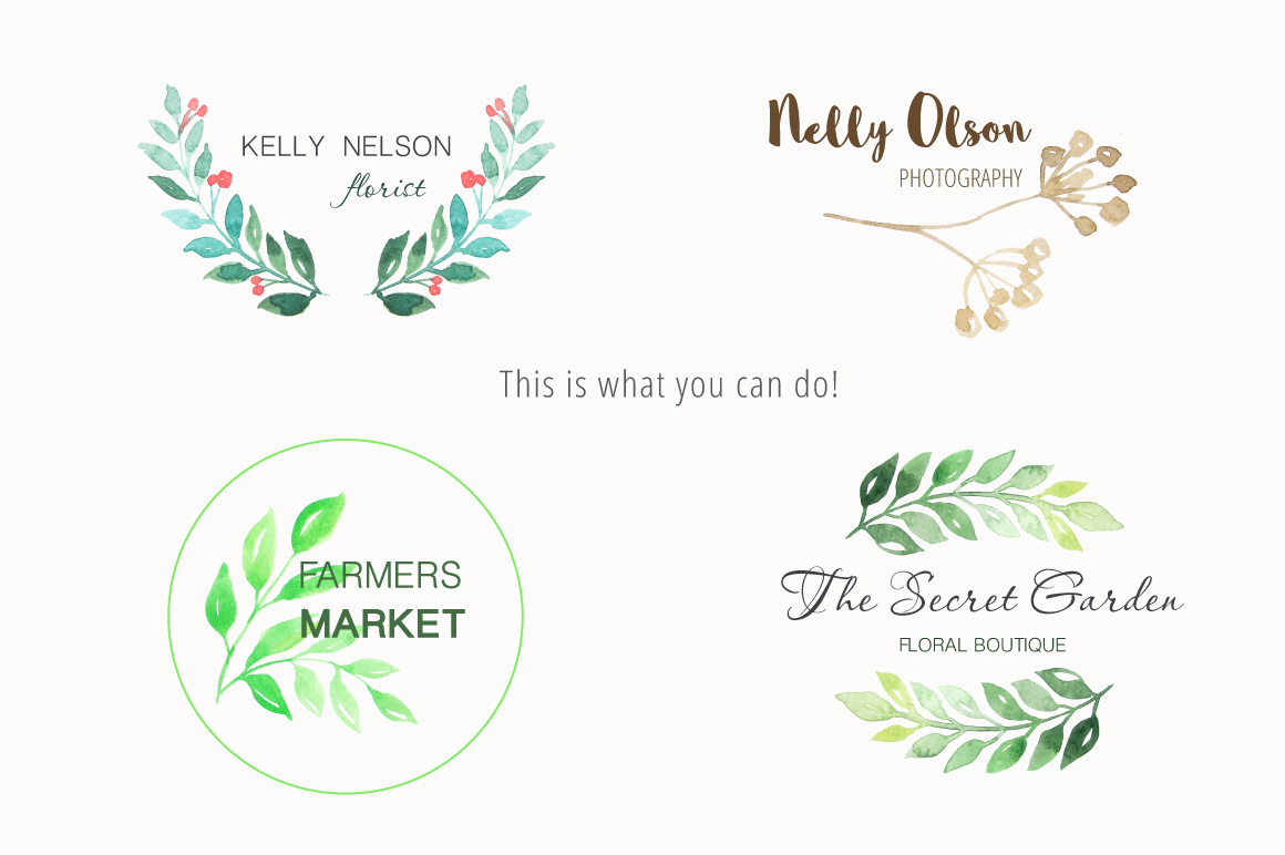 Watercolor Green Elements Pack example image 5