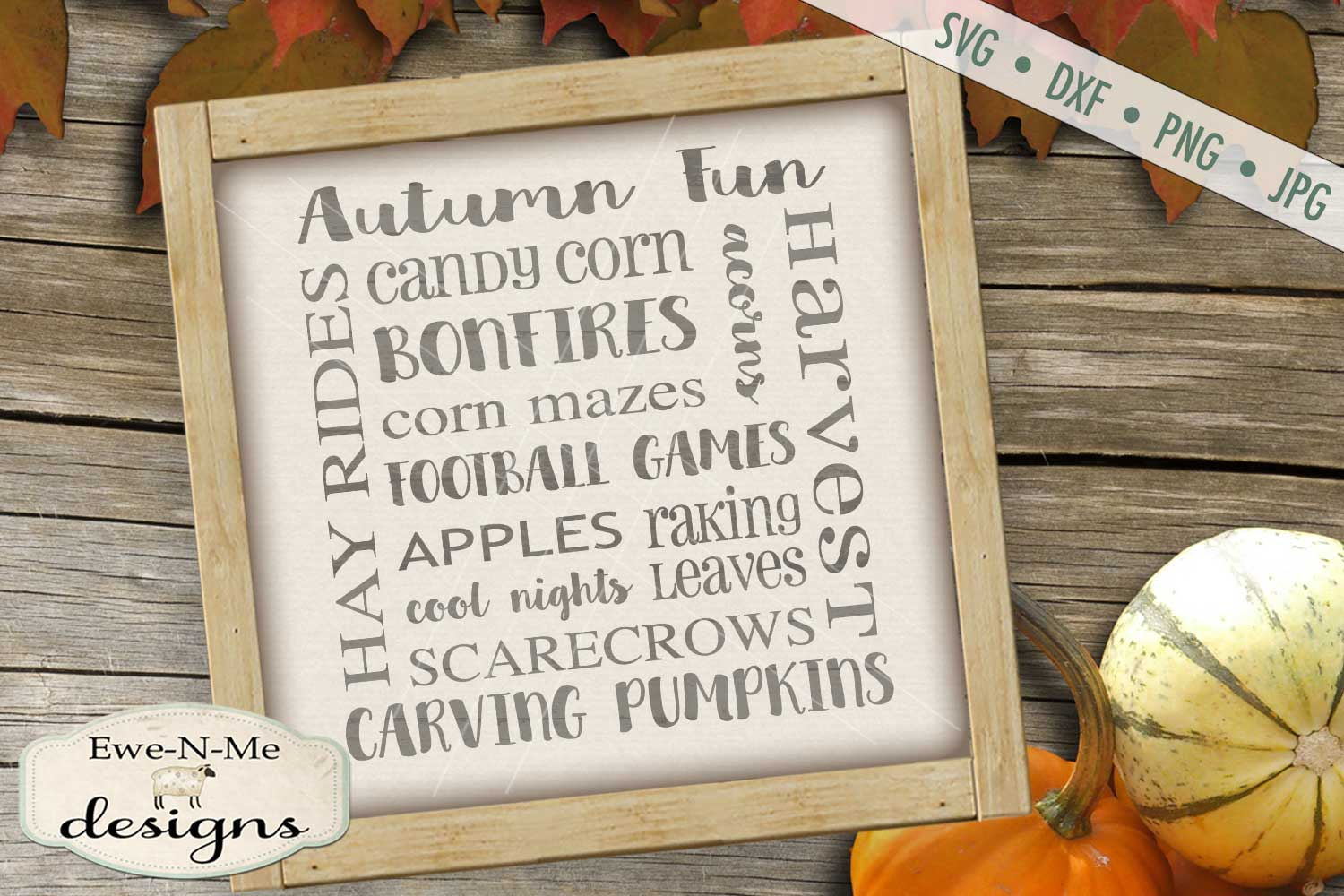 Autumn Fun Fall Subway SVG DXF Files example image 1