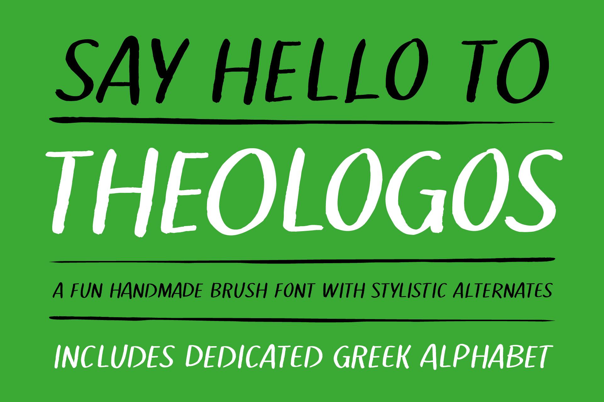 Theologos handmade brush font example image 1