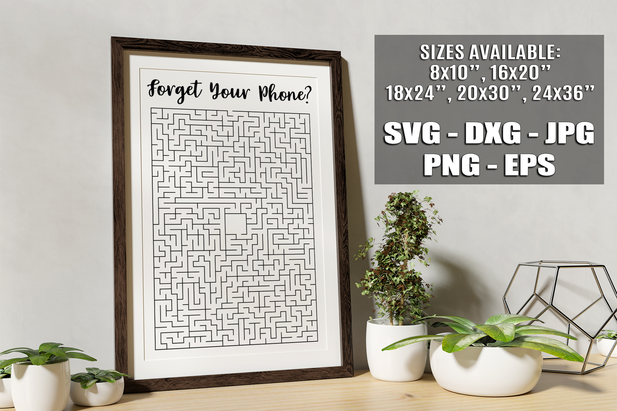 Forget Your Phone Funny Bathroom Maze Sign SVG DXF EPS PNG example image 1