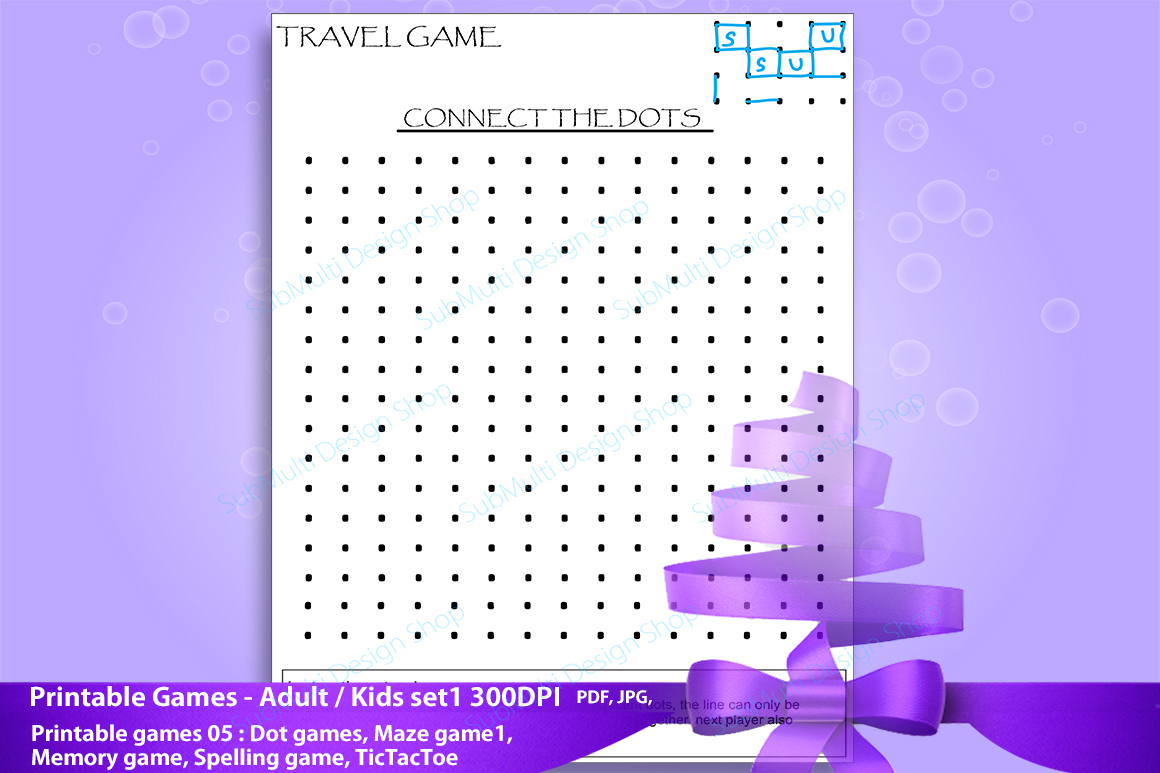 adult games / kids games / travel games /games / dot game, maze game, spelling game,memory game, Tic Tac Toe /High Quality clipart game example image 4