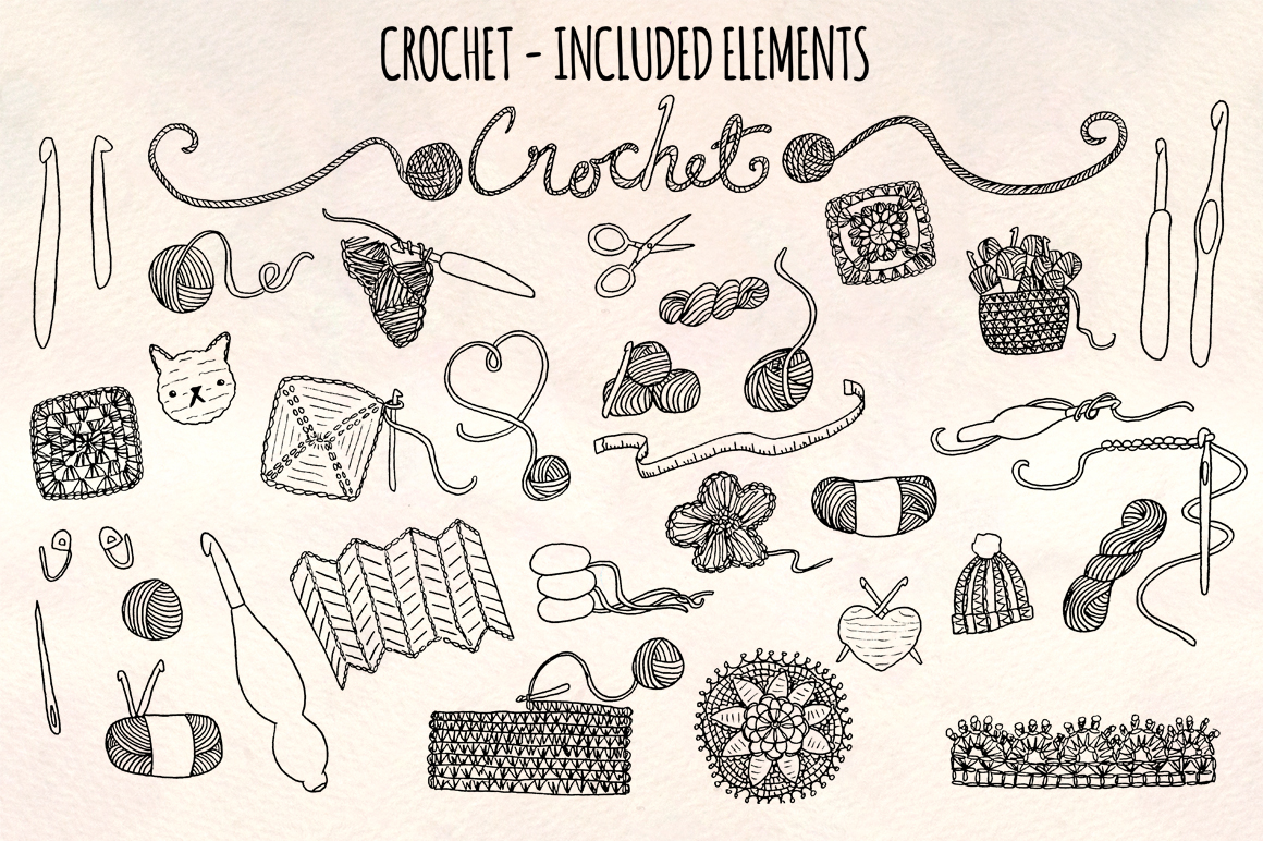 33 Crochet and Yarn Sketch Graphics Kit example image 2