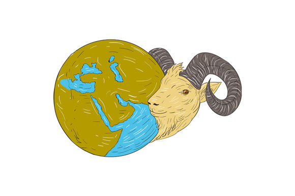 Ram Head Middle East Globe Drawing example image 1
