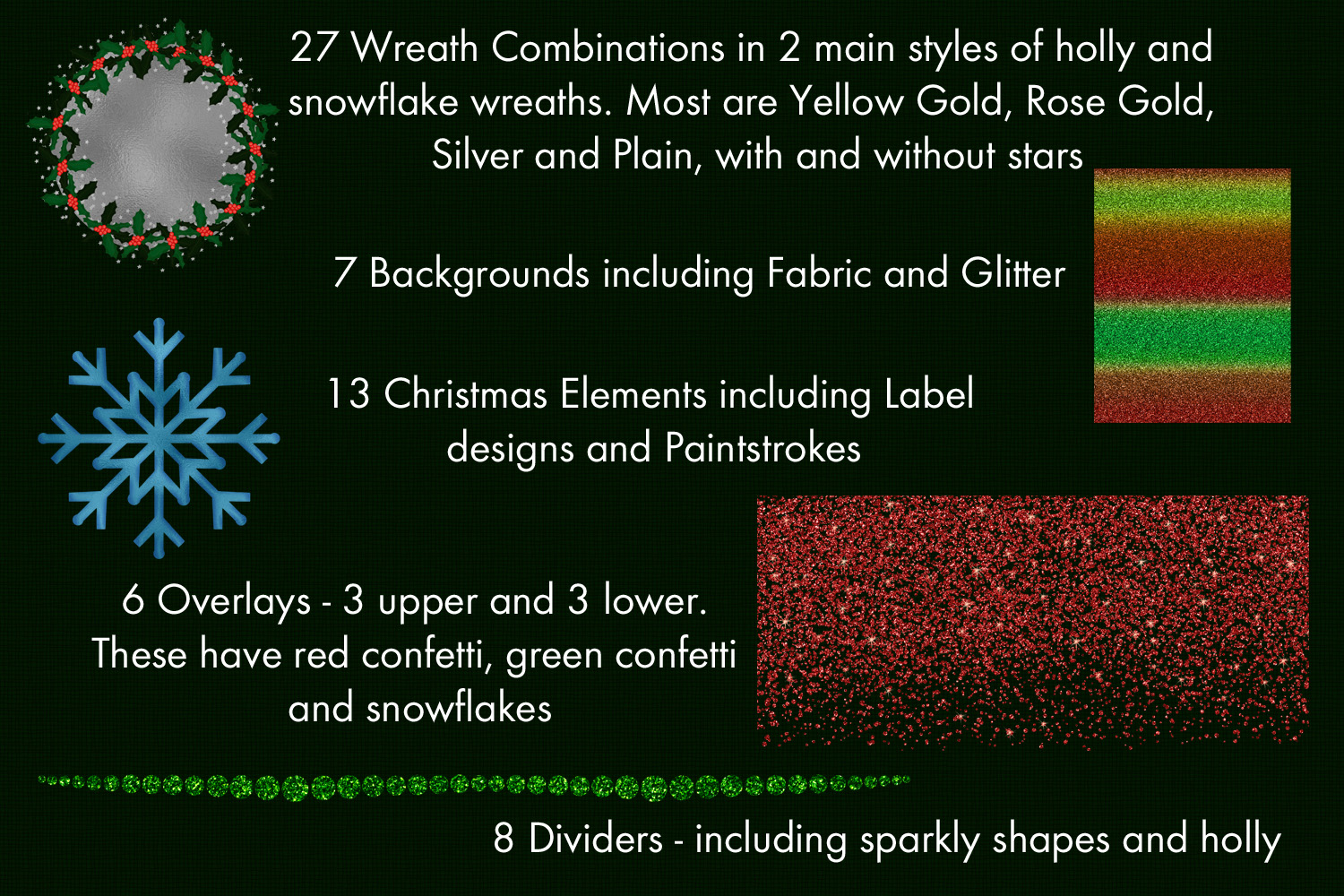 The Christmas Mega-Pack - with Backgrounds, Clipart, Wreaths example image 2