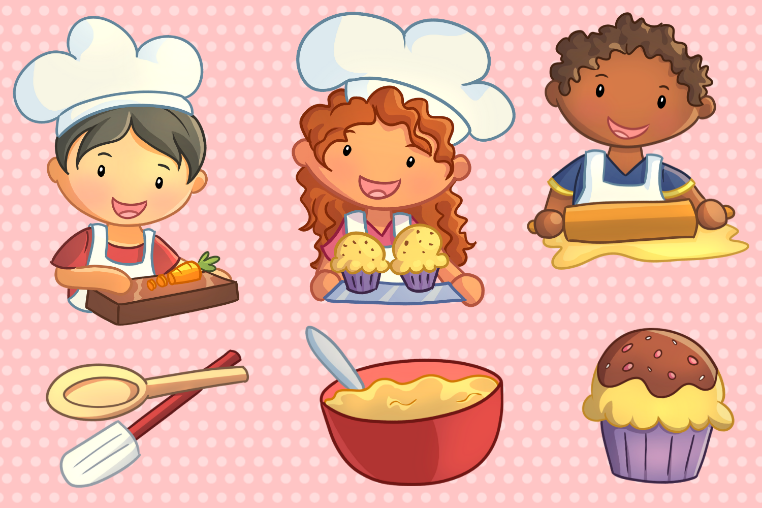 Cute Kids Cooking Illustrations example image 2
