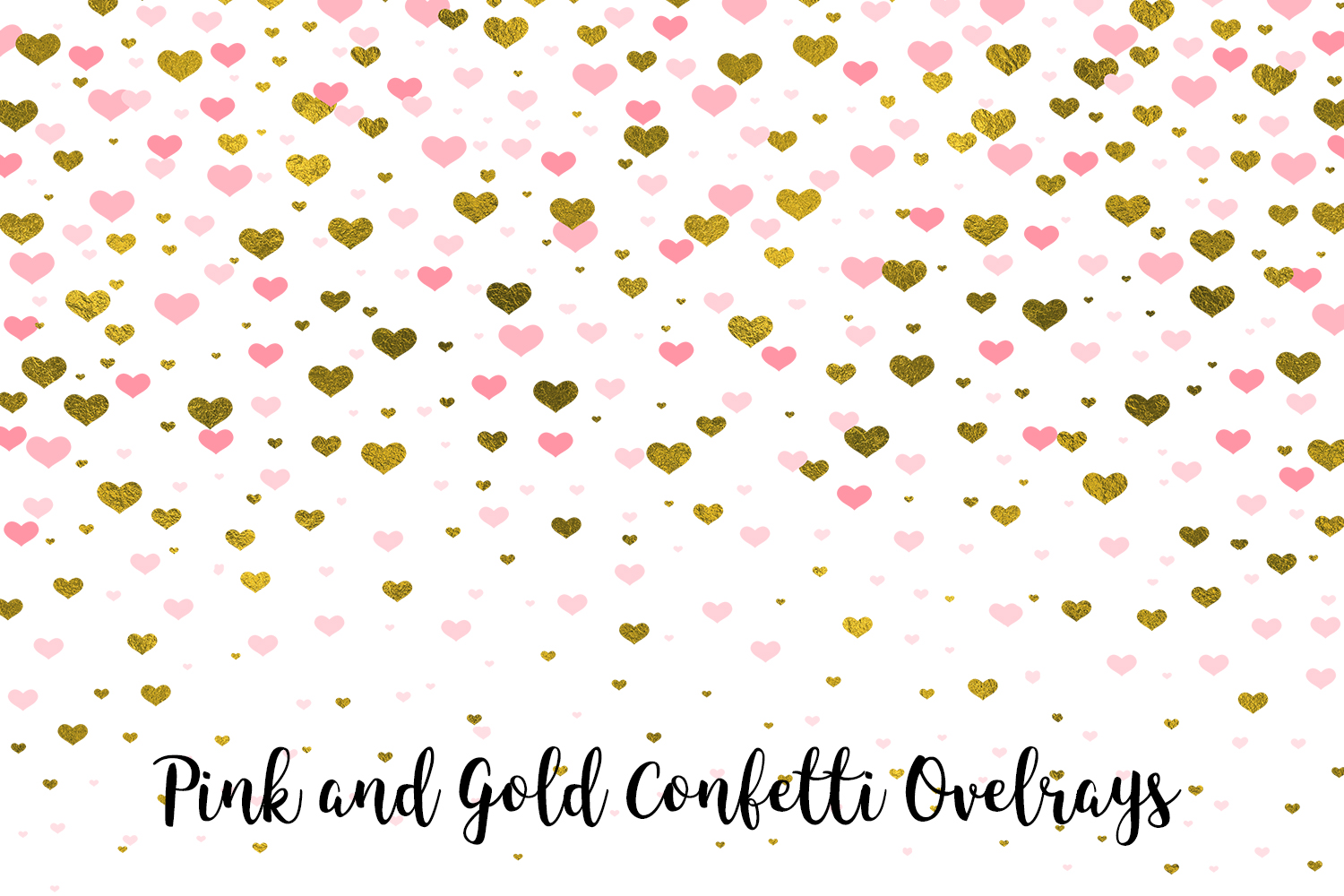 Pink and Gold Confetti Overlays, Transparent PNGs example image 3