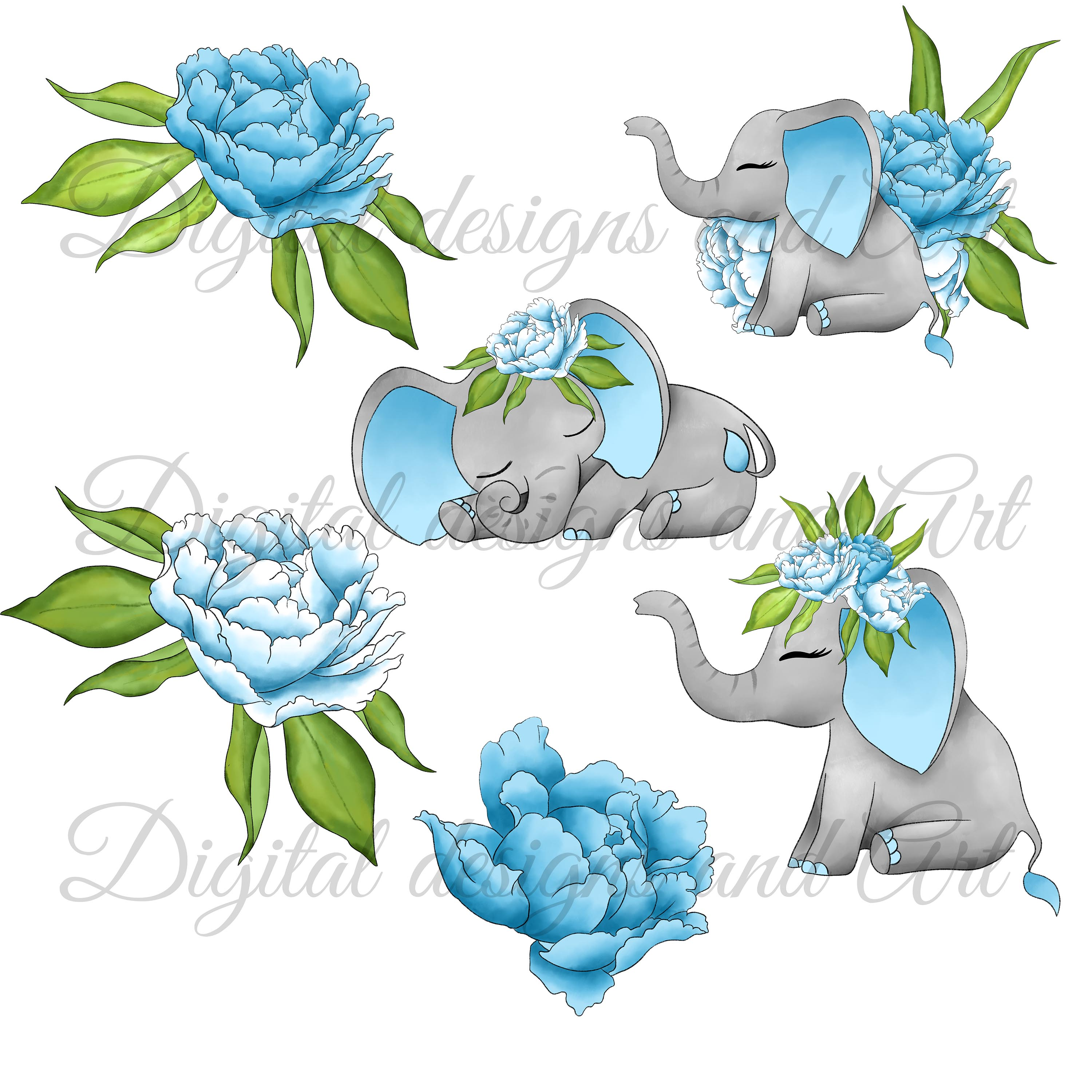 Baby elephant clipart example image 2