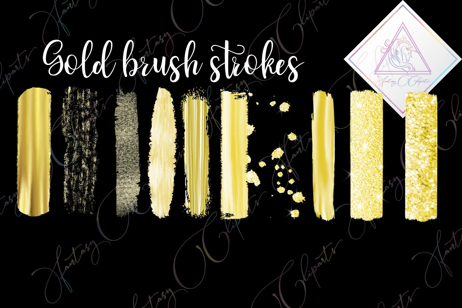 Gold Brush Strokes Clipart example image 1