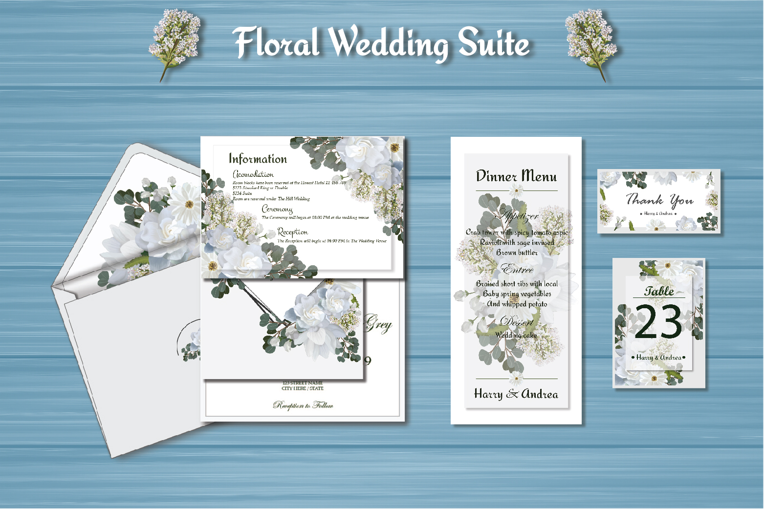 White Floral Wedding Invitation Suite example image 4