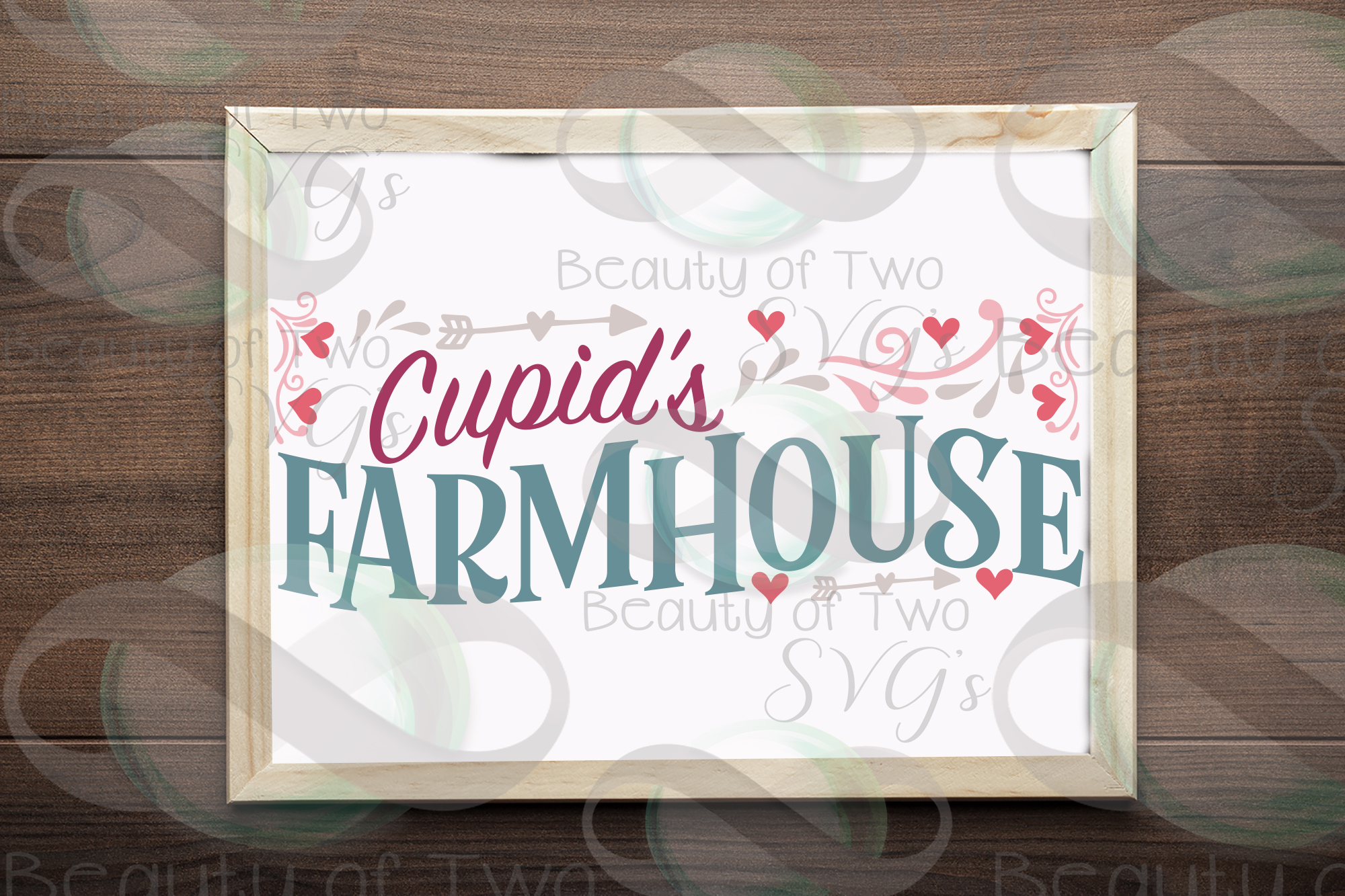 Valentines Cupids Farmhouse love hearts svg, Valentines svg example image 1