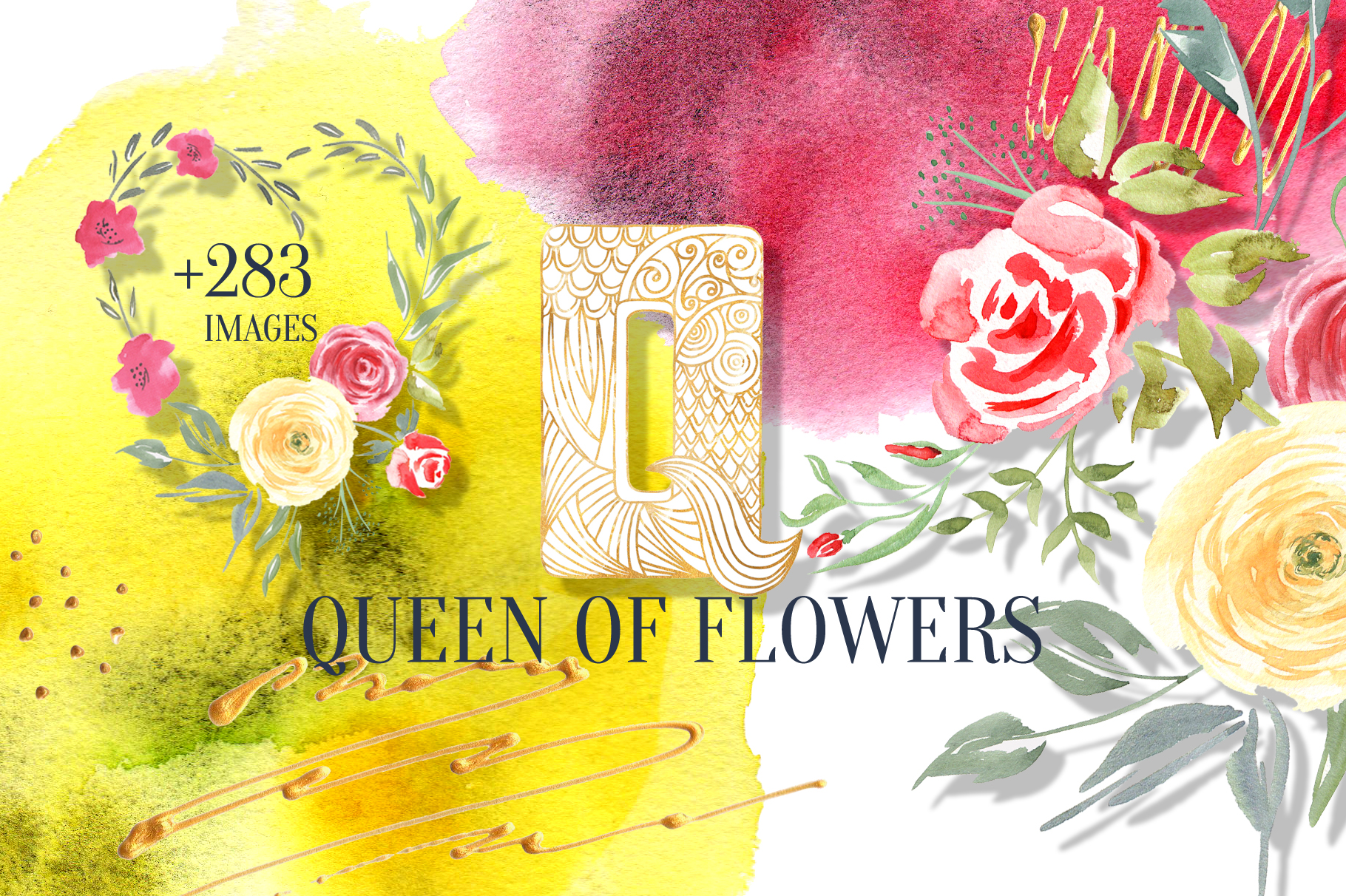 Queen of Flowers watercolor collection example image 1
