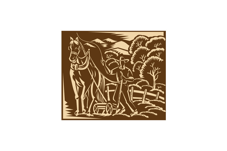 Farmer Farming Plowing With Farm Horse Retro example image 1