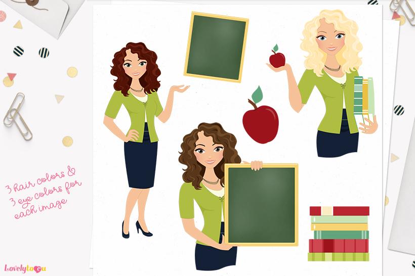 Woman teacher character clip art L073 Dixie example image 1