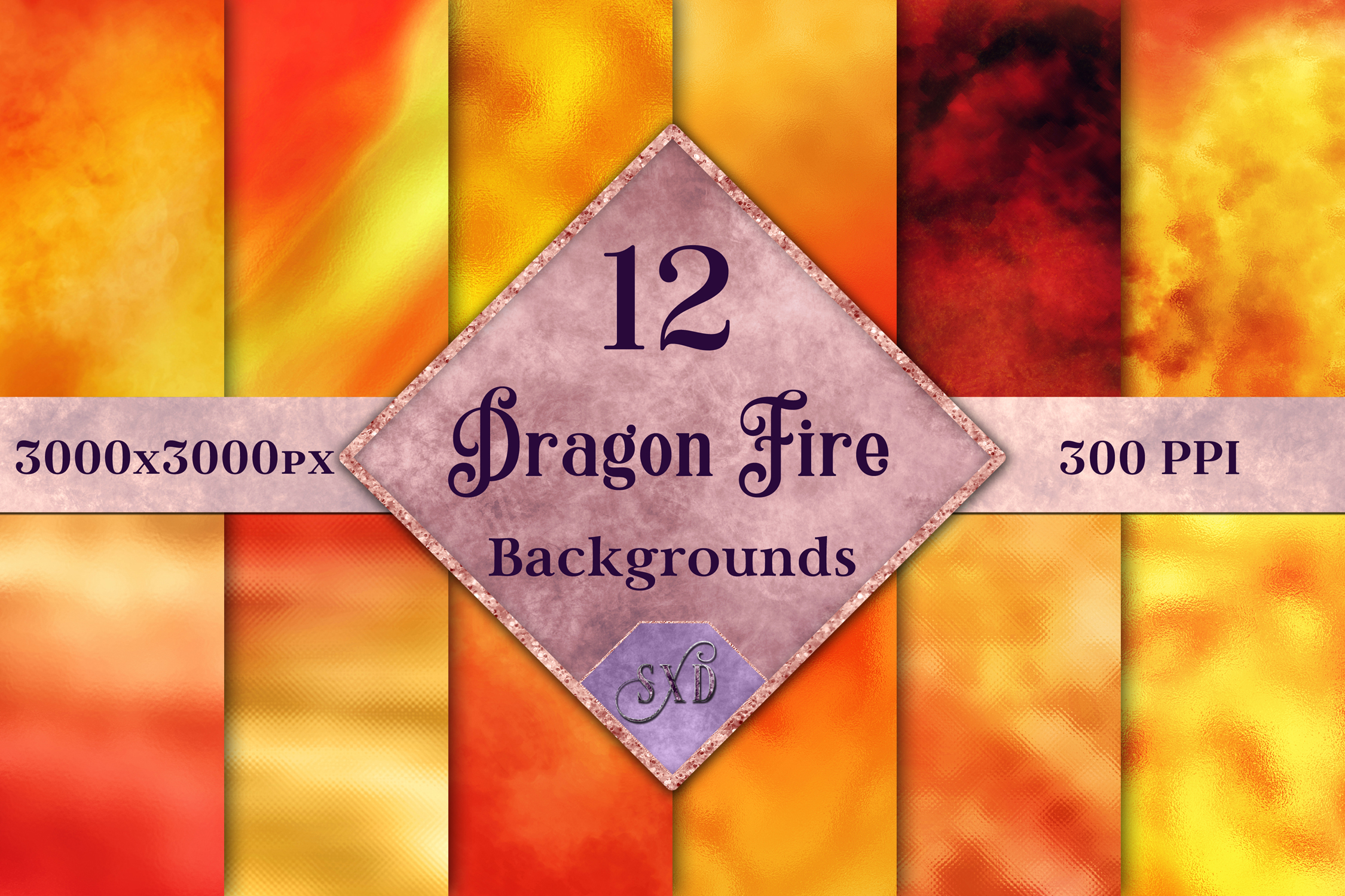 Dragon Fire Backgrounds - 12 Image Textures Set example image 1