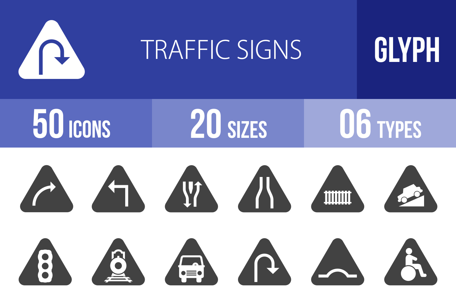 50 Traffic Signs Glyph  Icons example image 1