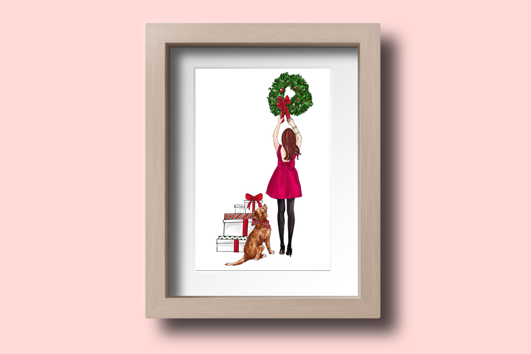 Fashion illustration - Christmas Girl 7 - Redhead example image 5