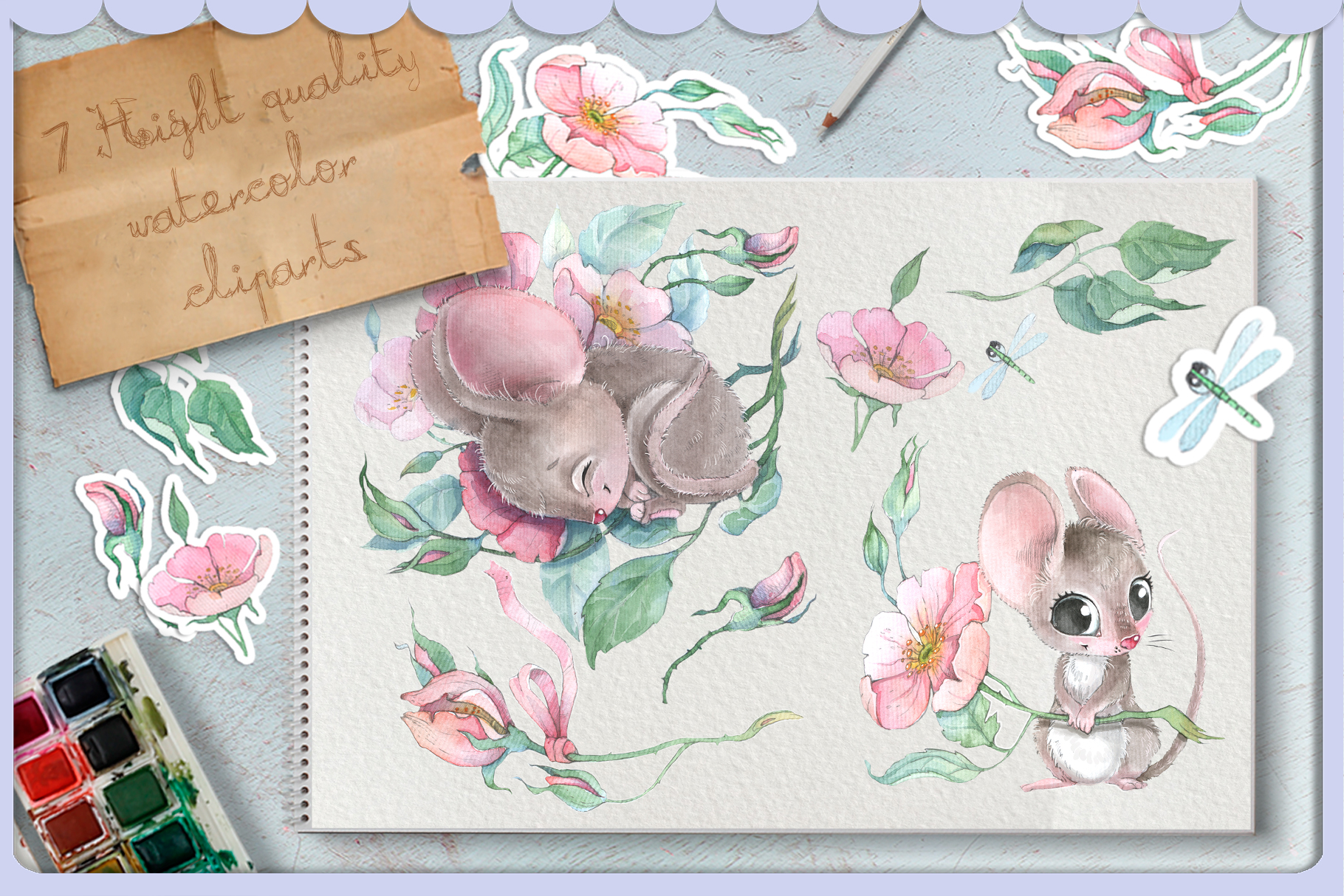 Watercolor mouse and wild roses digital clipart set baby ani example image 2