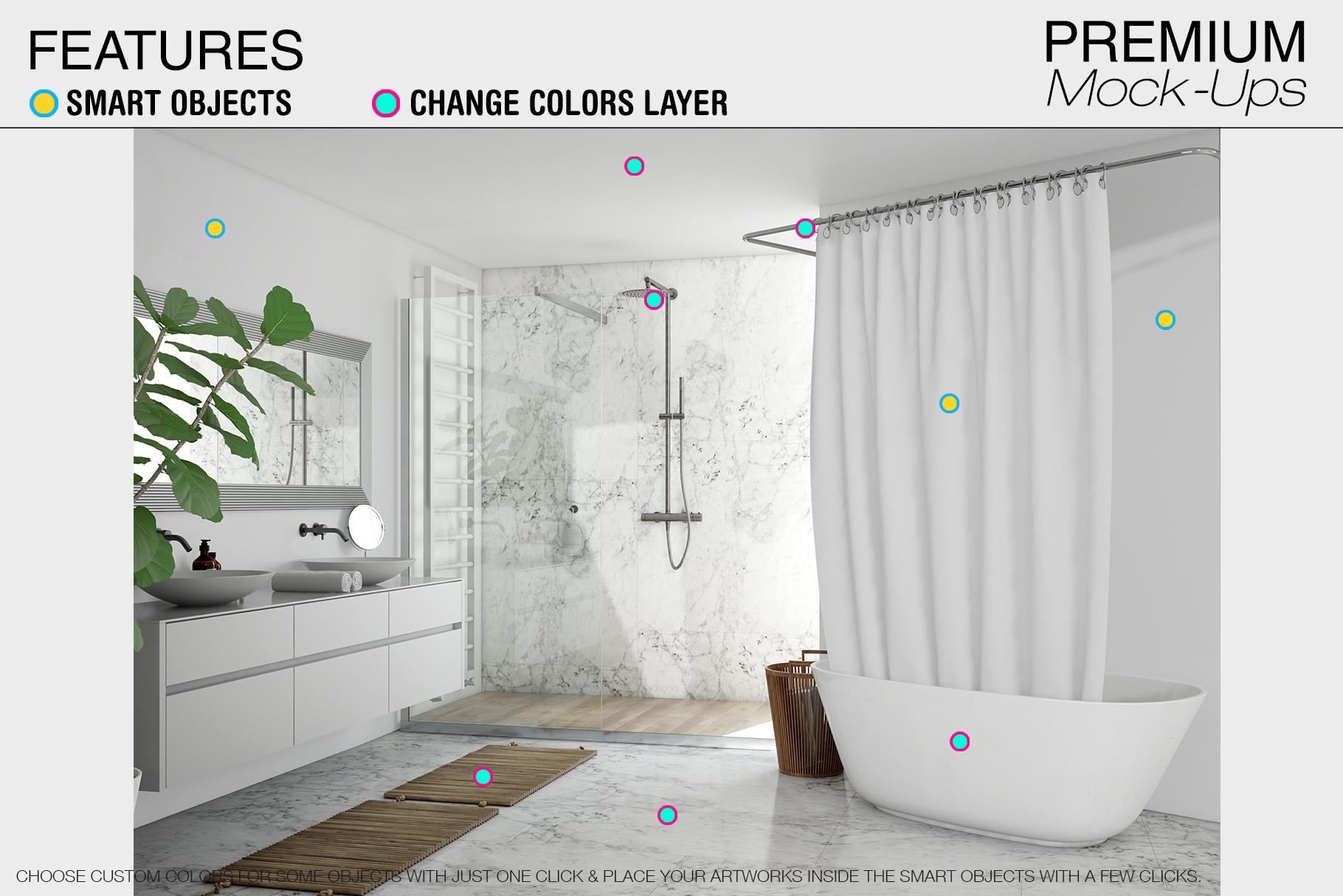 Bath Curtain Mockup Pack example image 5
