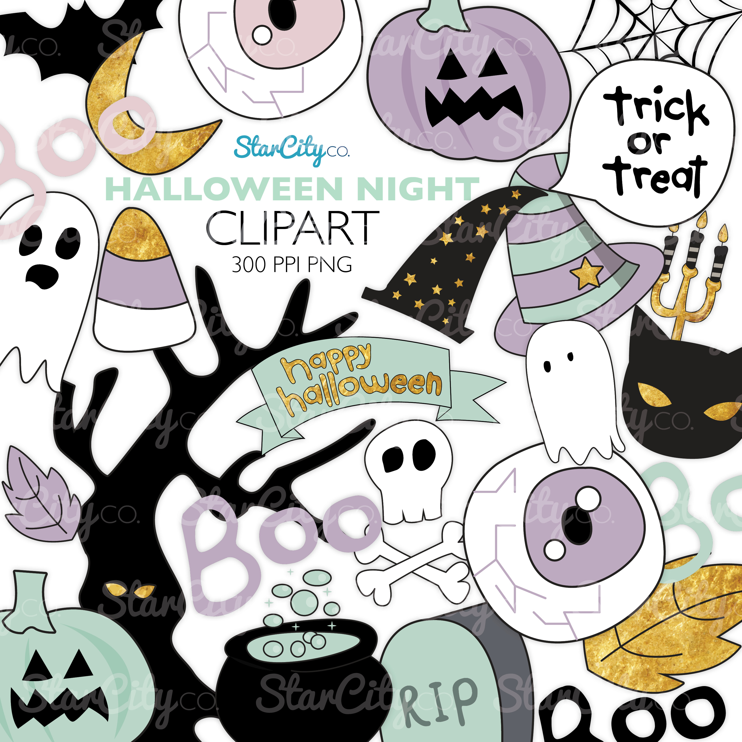 Hand Drawn Halloween Clipart in Pastel Colors example image 1
