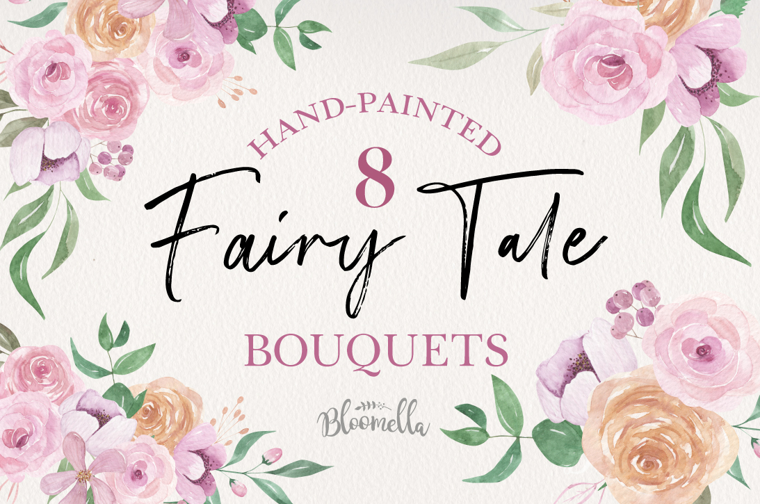Floral 8 Bouquets Fairy Tale Watercolor Elegant Pink Peach example image 1