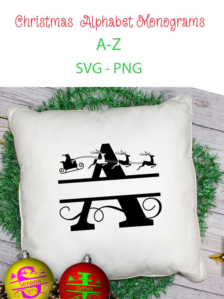 Christmas Alphabet Monogram SVG's example image 6
