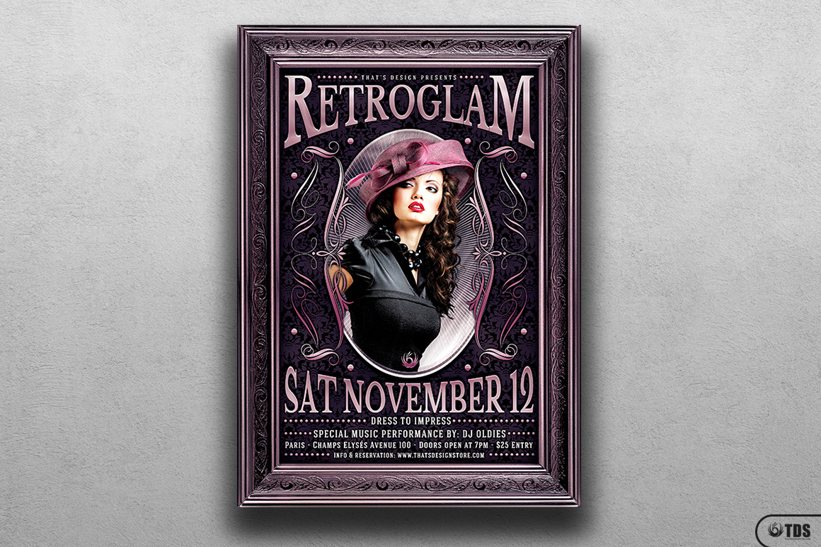 Retro Glam Flyer Template V3  example image 1