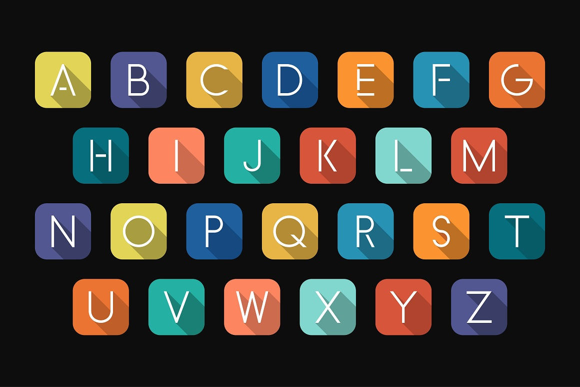Colorful minimalistic flat alphabet example image 5