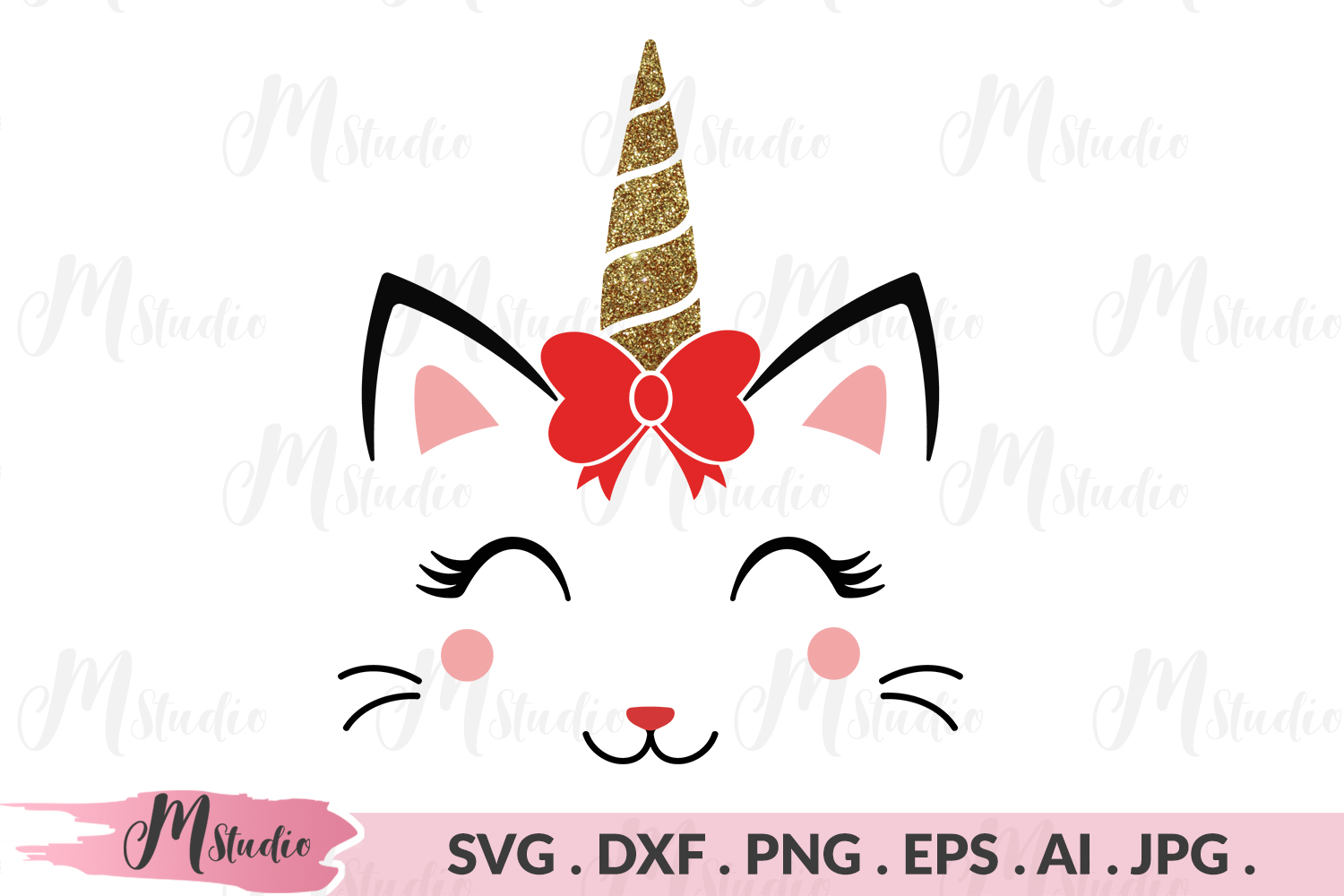 Caticorn with bow svg example image 1