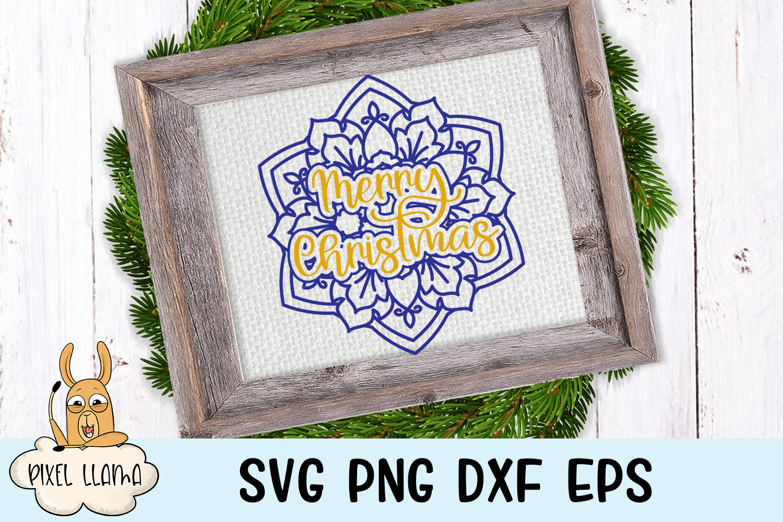 Christmas Mandala Bundle of 8 SVGs example image 3