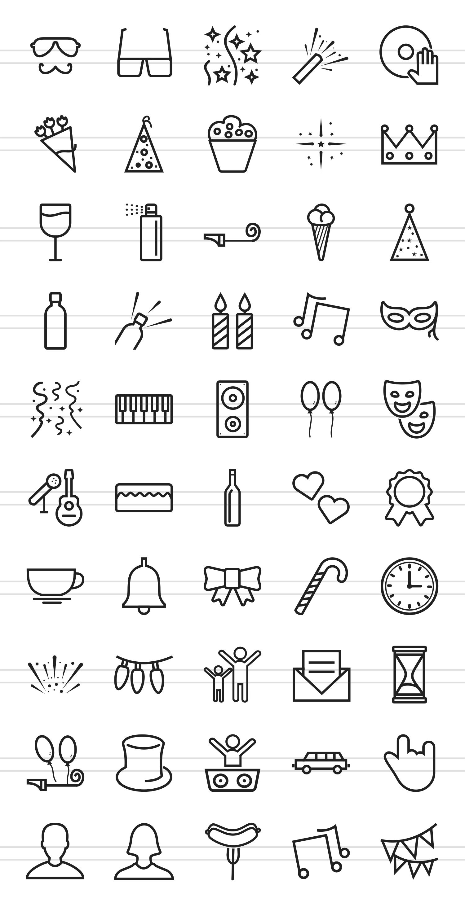 50 Party Line Icons example image 2