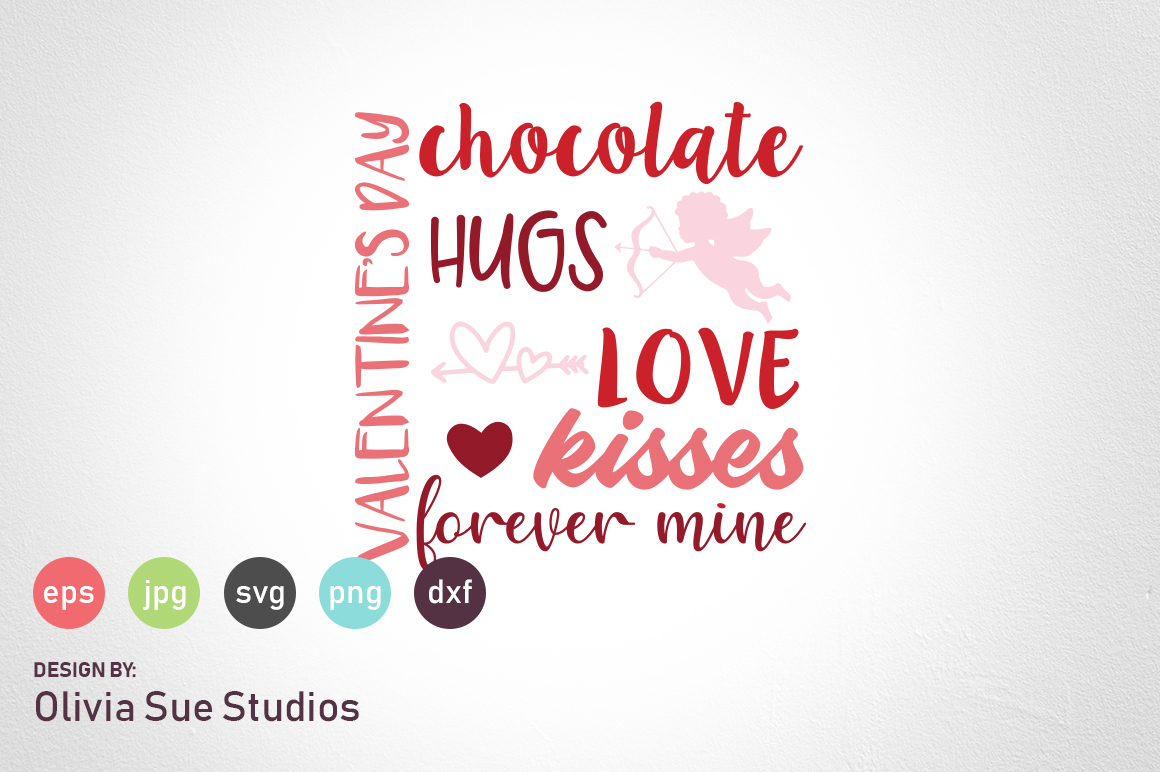 Valentines Day Word Collage SVG Cut File example image 1