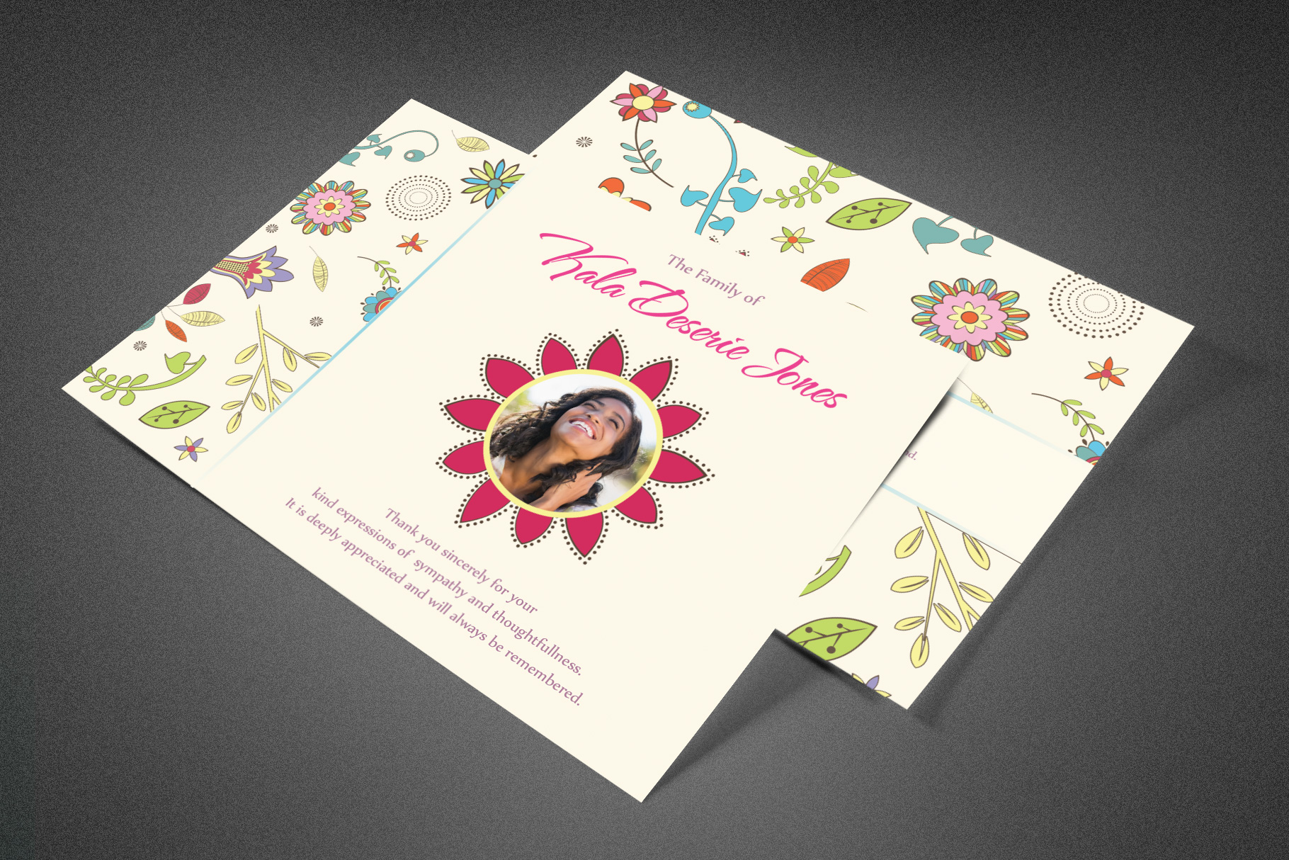 Floral Dreams Funeral Thank You Card example image 1