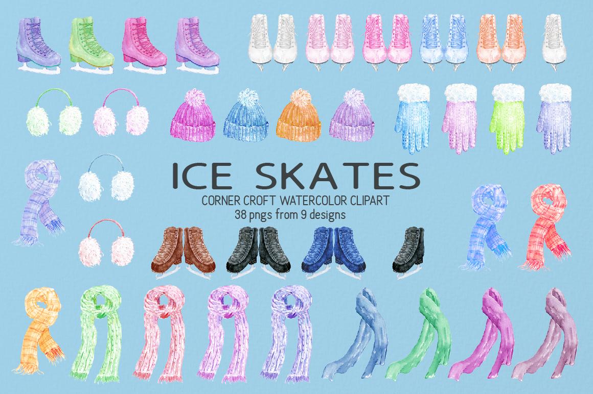 Watercolour Ice Skates Illustration example image 2
