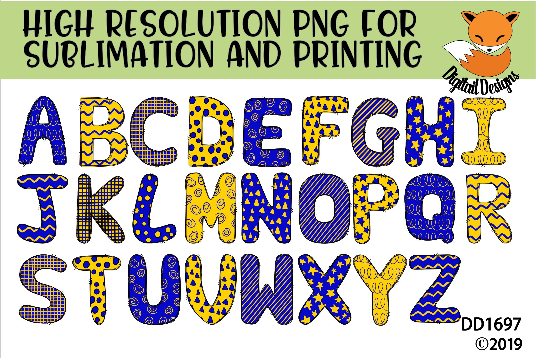 Sublimation Printable Doodle Alphabet Letters example image 1
