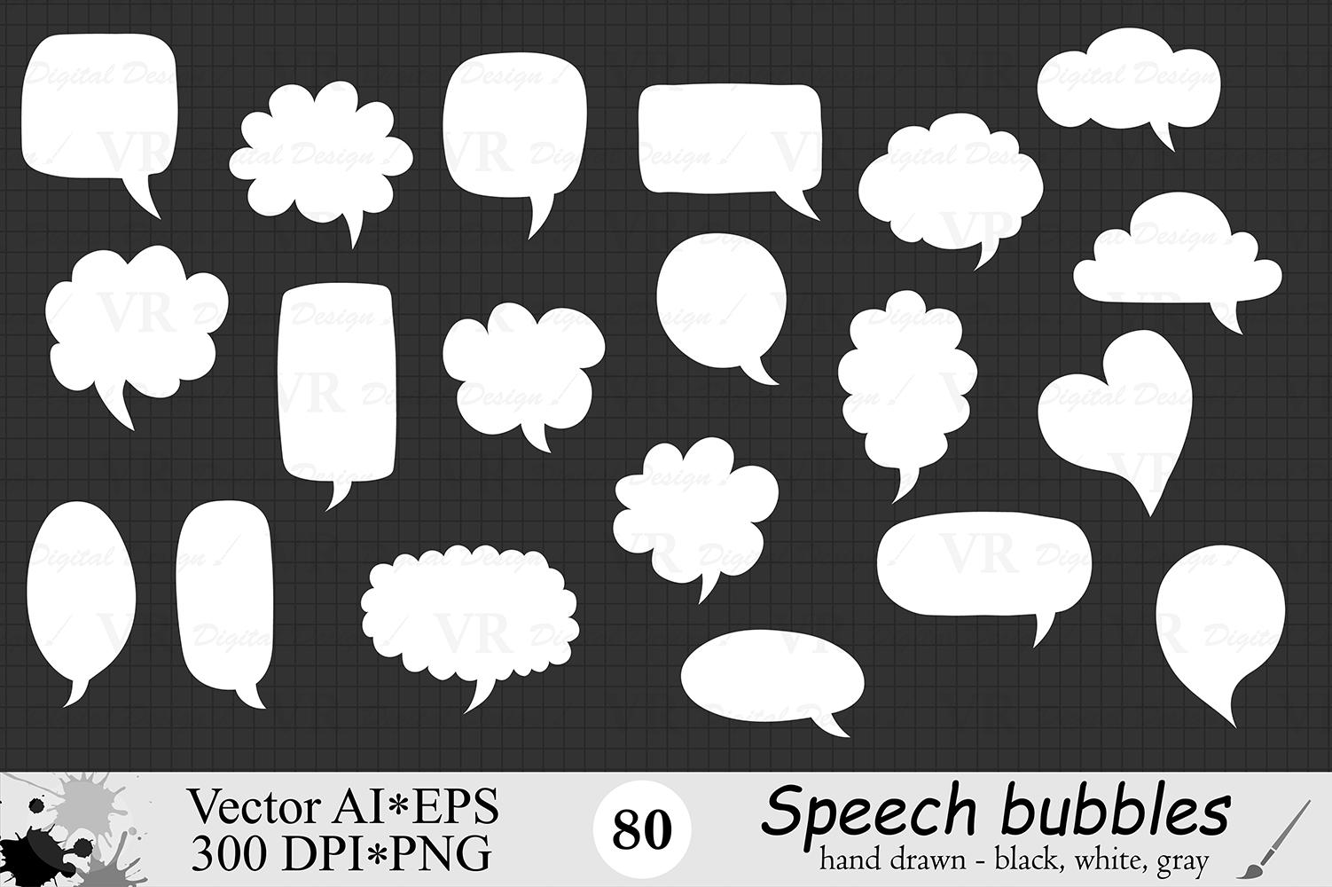Speech Bubbles Clipart / Chat Bubbles / Hand drawn Text bubbles / Black, White, Gray - Vector example image 5
