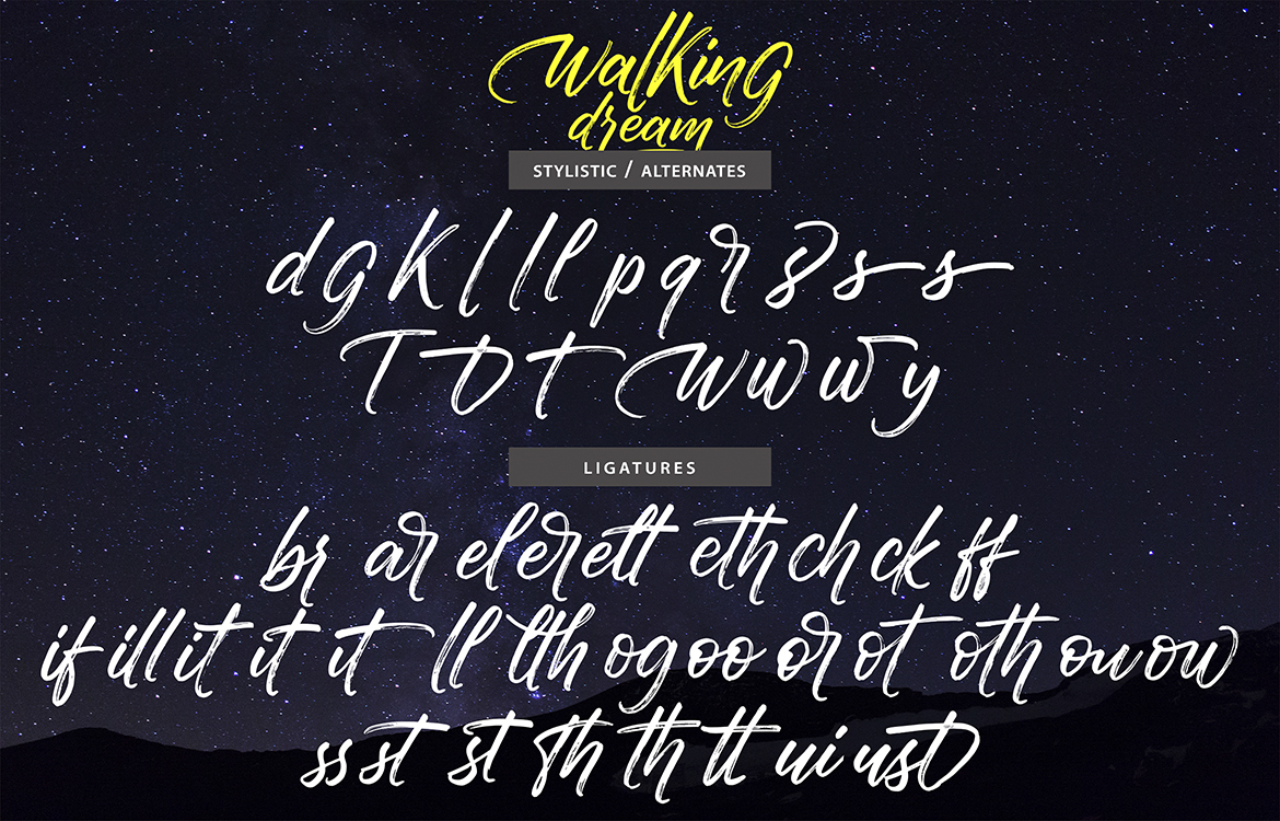 Walking Dream | A Handcrafted Drybrush Lettering Script Font example image 9