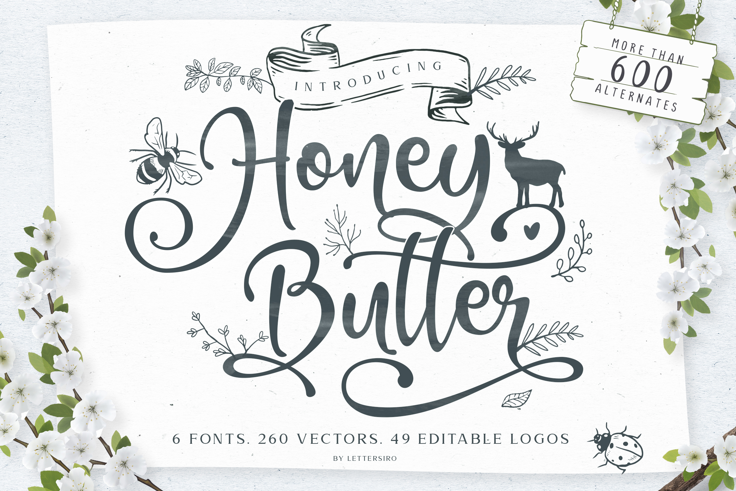 Honey Butter Font Trio & 260 Vectors example image 28