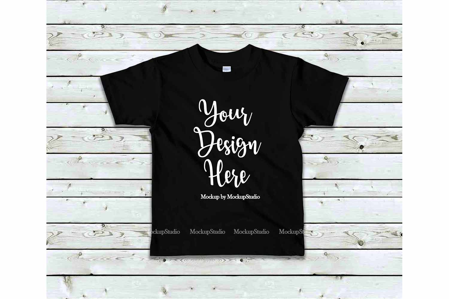 Kids Black Tshirt Mock Up, Toddler Shirt Flat Lay Mockup example image 1