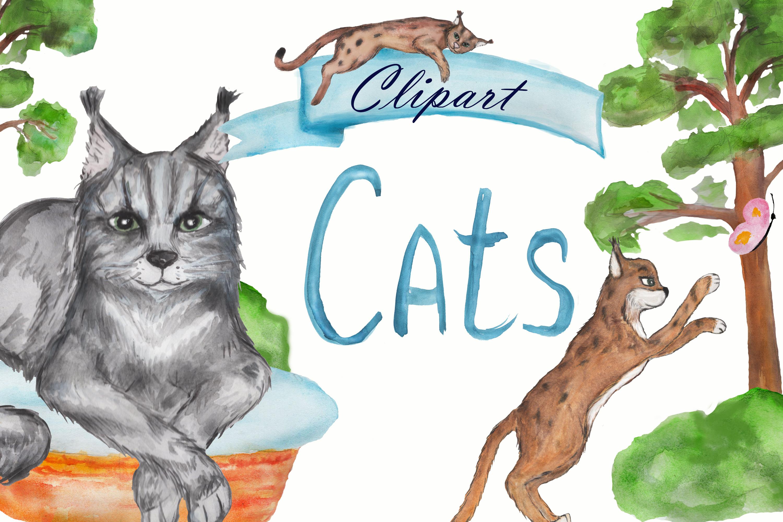Grumpy cat clipart, savannah cat, lynx clipart, Maine coon example image 2