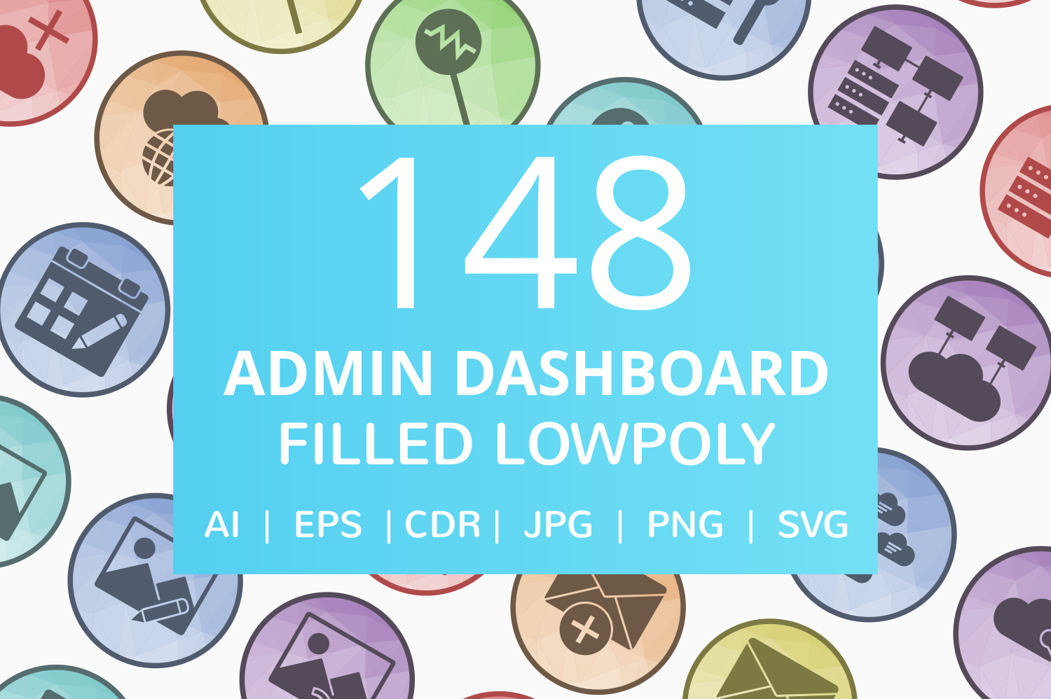 148 Admin Dashboard Filled Low Poly Icons example image 1