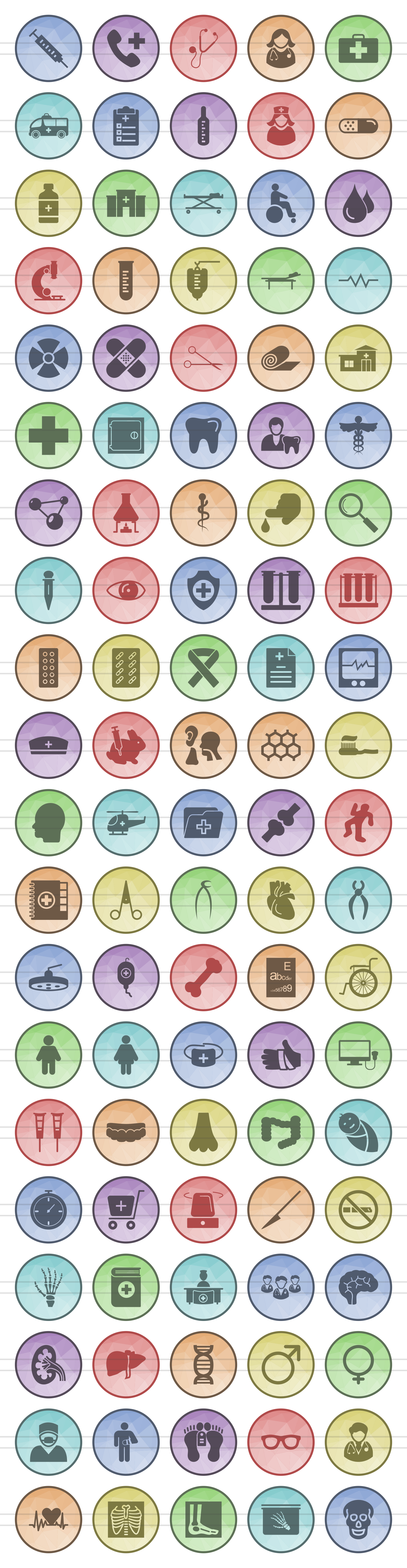 100 Medical General Filled Low Poly Icons example image 2