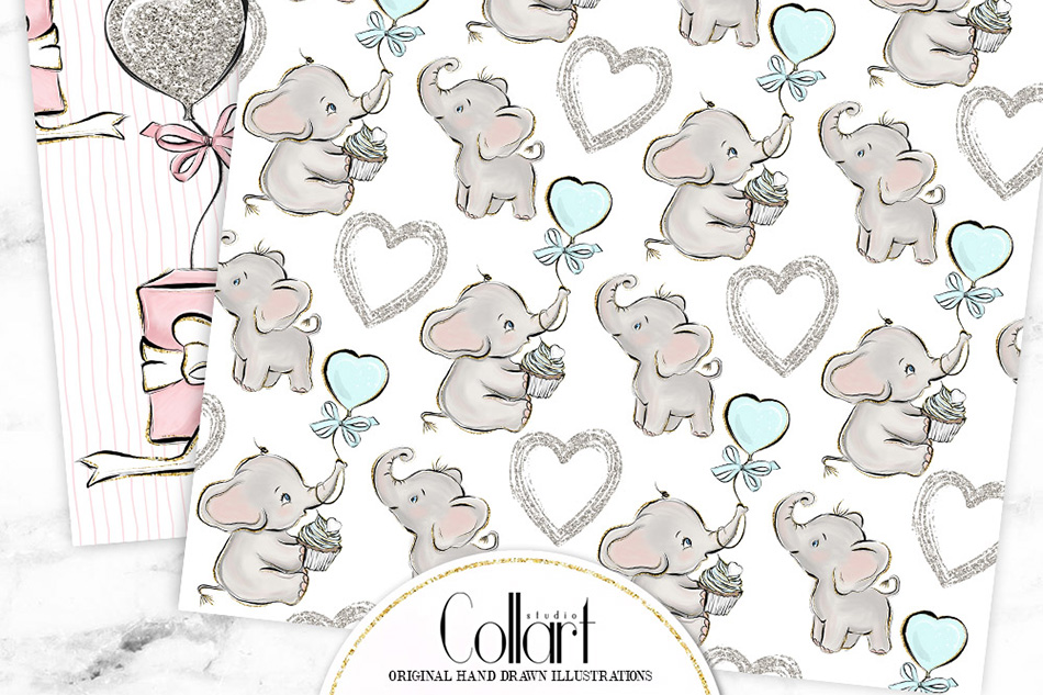 Elephant digital paper, baby boy papers, baby girl papers example image 4