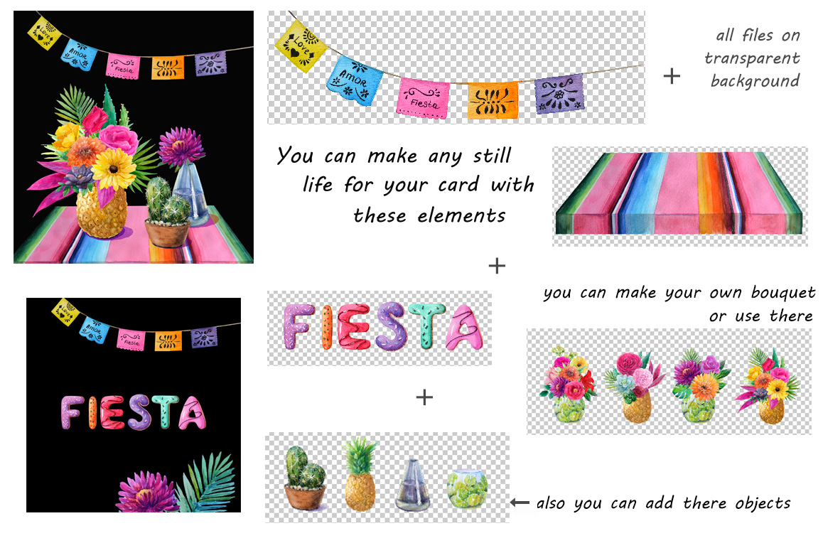 Mexican watercolor flowers,still life.Fiesta party. example image 2