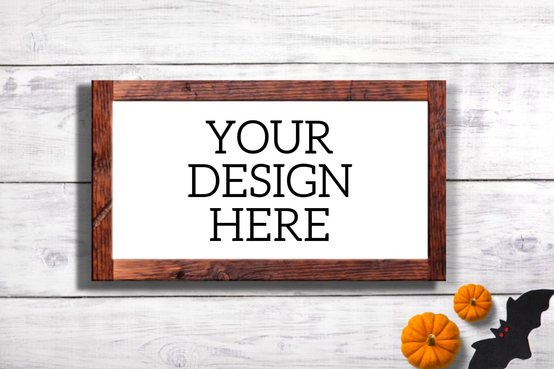 Halloween Wooden Sign Mock Up - Horizontal example image 1