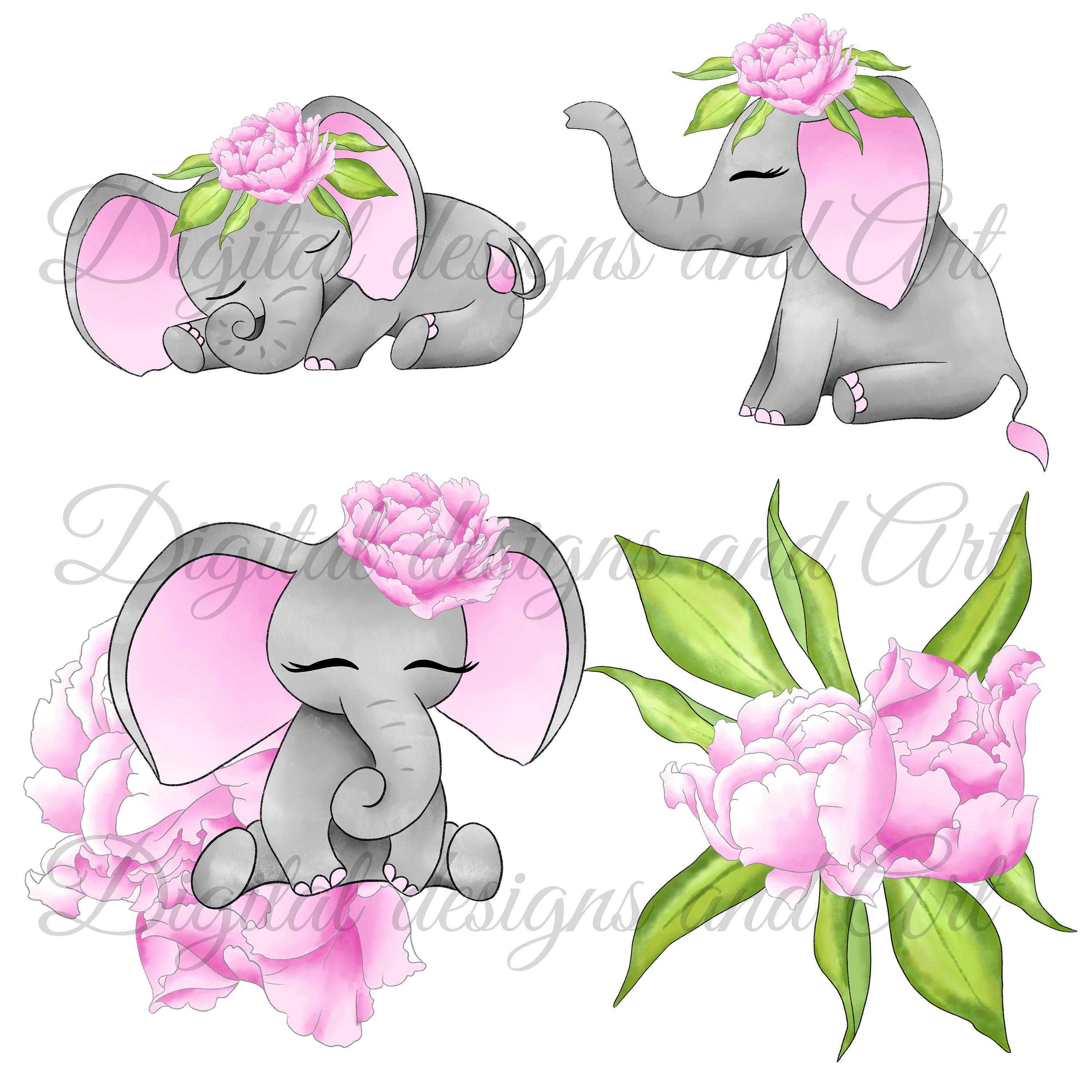 Baby elephant in pink example image 2
