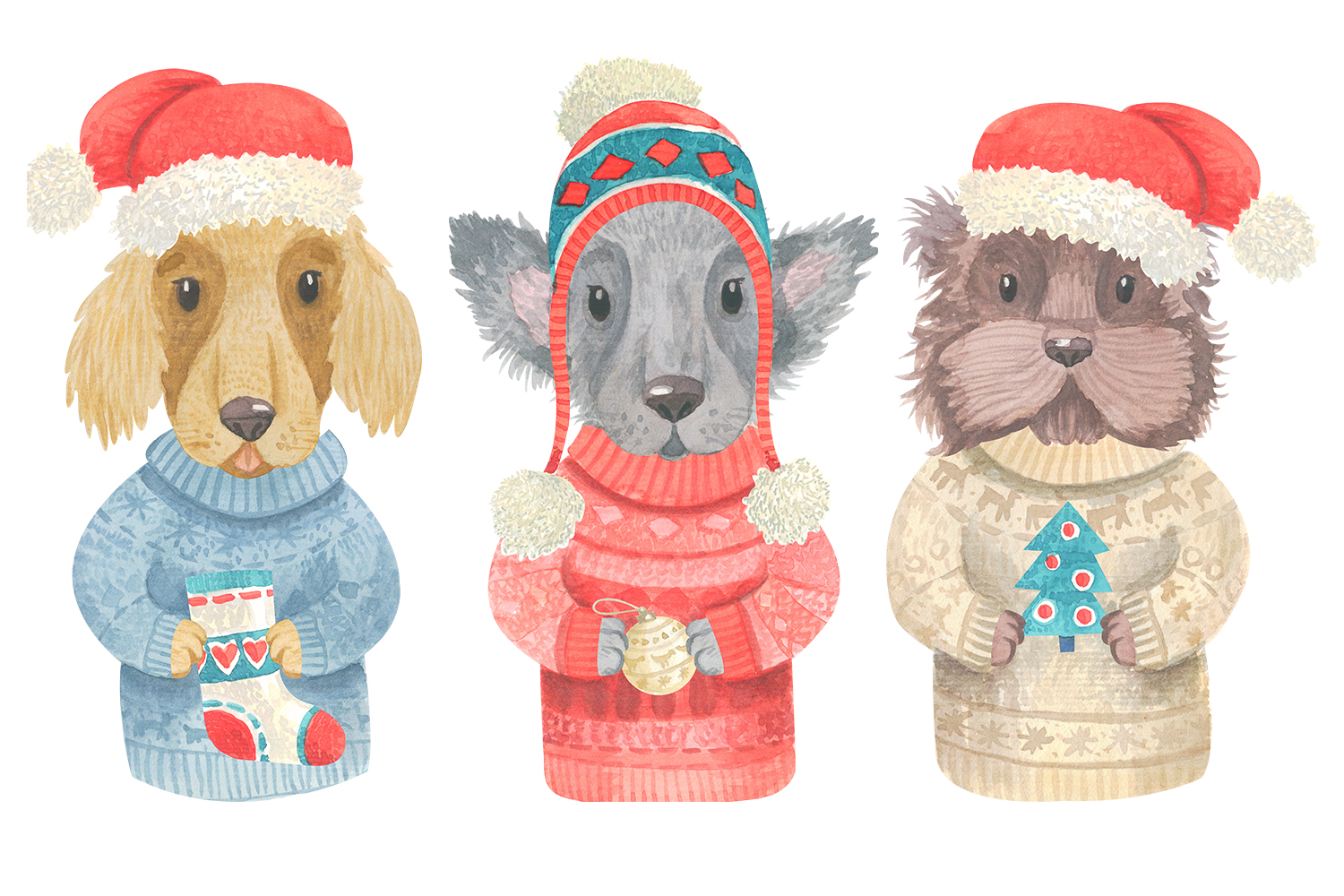 Winter Dogs Watercolor Clipart Collection example image 3