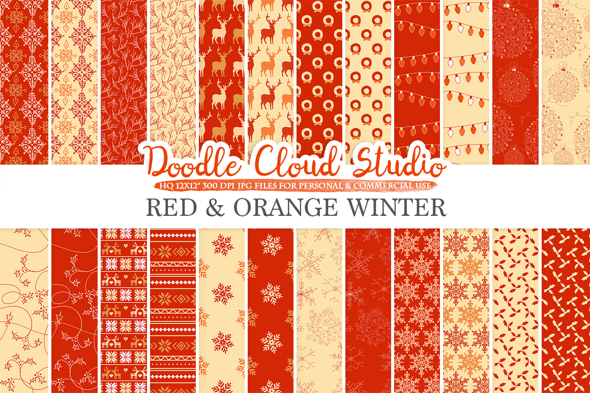 Red and Orange Winter digital paper, Red and Gold Christmas Holiday patterns, Stars Snow deers X-mas backgrounds Personal & Commercial Use example image 3