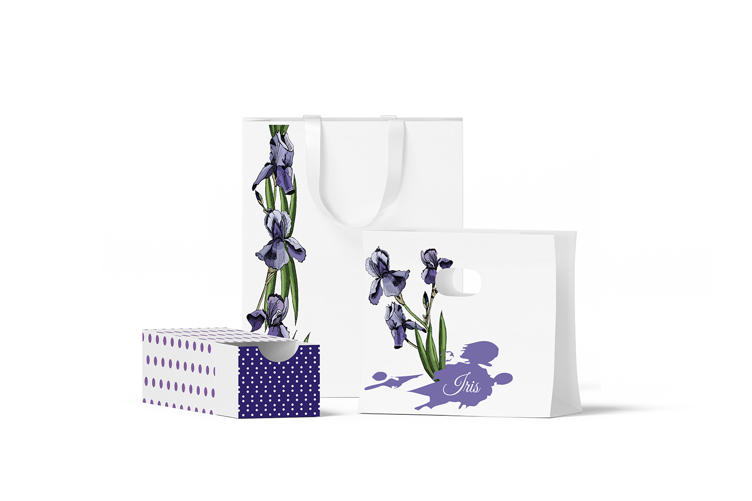 Collection with sketches of iris flowers and seamless patterns.  example image 5