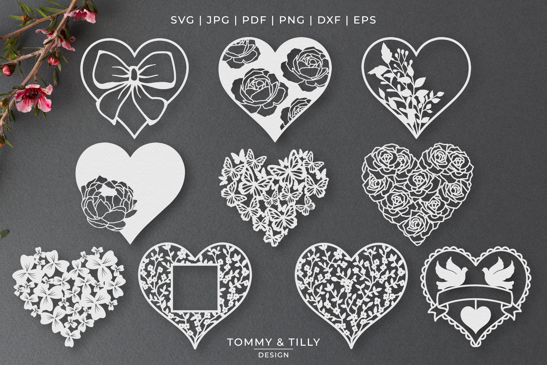 30 Designs! Romantic Hearts Bundle- SVG EPS DXF PNG PDF example image 3